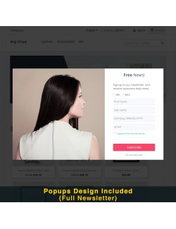 Full newsletter design of the module Smart Popup (Newsletter Popup) for PrestaShop