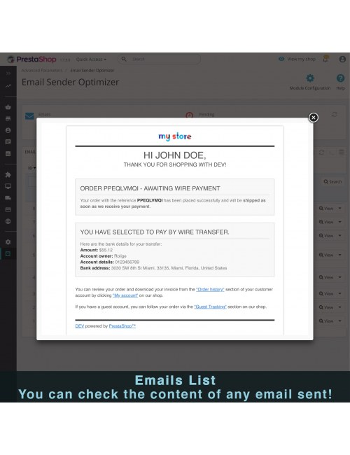 Email preview of the module Ultra Fast Email Sender Optimizer for PrestaShop