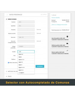 Address form of the module Chilexpress for PrestaShop