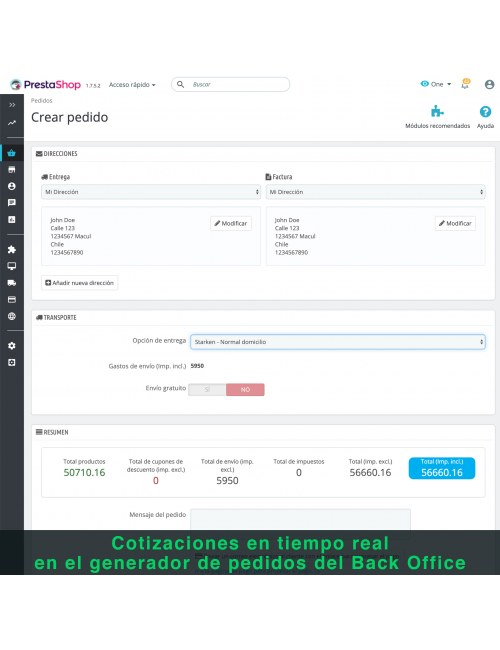 Order form of the module Starken for PrestaShop