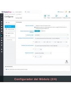 Settings of the module Correos Chile for PrestaShop