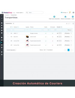 Carriers of the module Correos Chile for PrestaShop