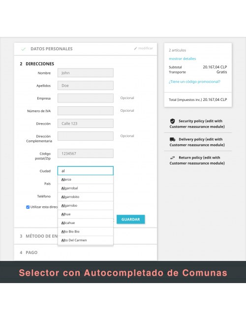 Address form of the module Correos Chile for PrestaShop