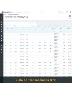 Transactions list of the module Webpay Plus (Transbank) Module for PrestaShop