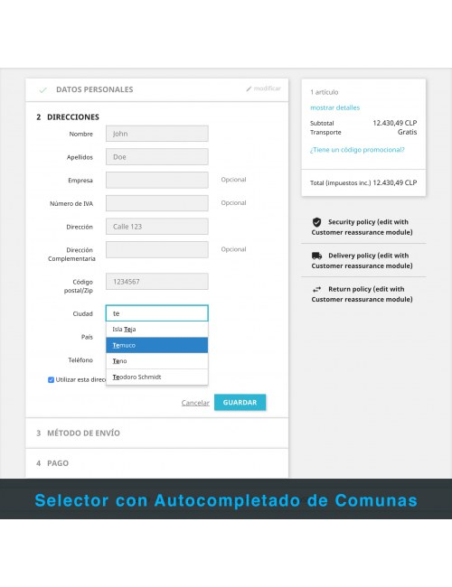 Communes auto-completer of the PrestaShop module Express Courier on Motorcycle and Bicycle for Chile