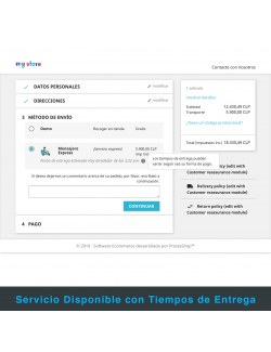 Services list of the PrestaShop module Express Courier on Motorcycle and Bicycle for Chile