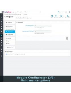 Maintenance settings of the module Ultra Fast Email Sender Optimizer for PrestaShop