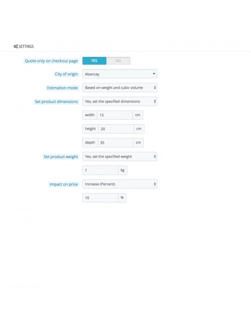 Settings of the module Serpost for PrestaShop