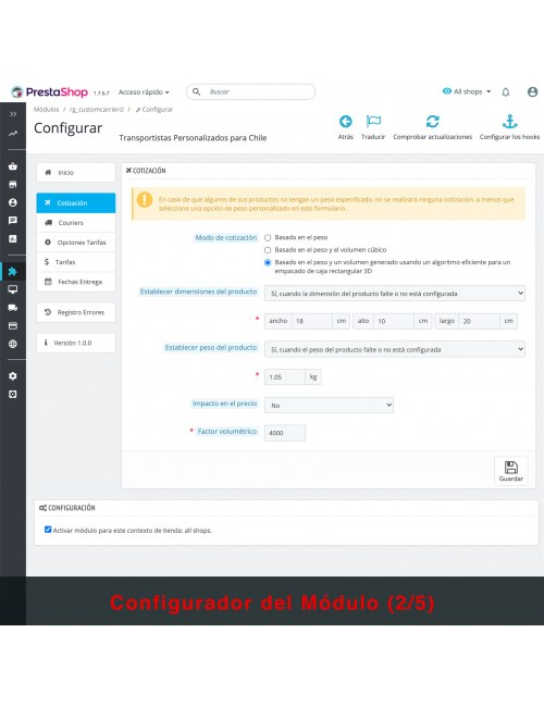Settings of the module Custom Carriers for Chile for PrestaShop