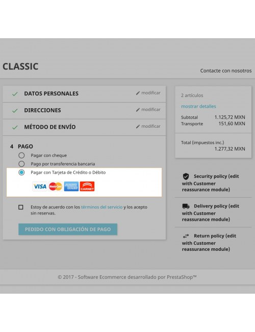 Payment method of the module Openpay Plus for PrestaShop